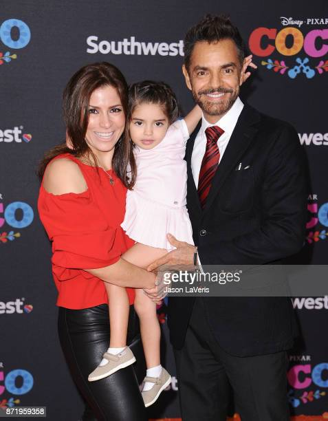 Actress Alessandra Rosaldo actor Eugenio Derbez and daughter Aitana Derbez attend the premiere of 'Coco' at El Capitan Theatre on November 8 2017 in...