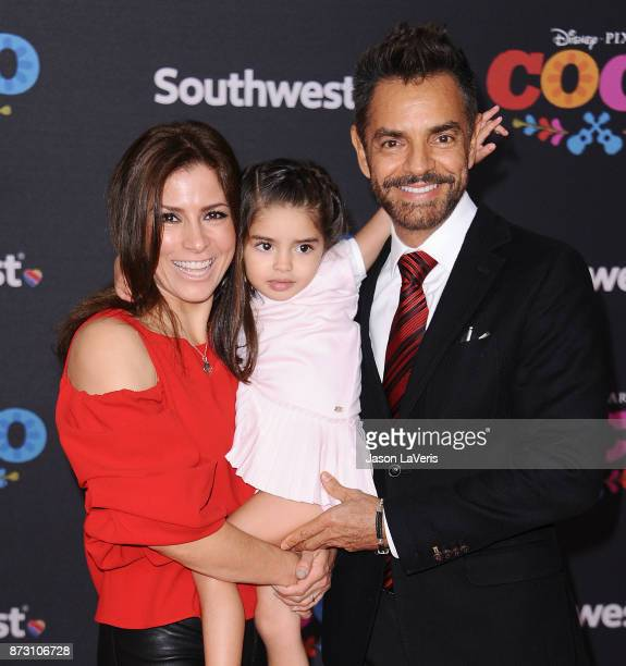 Actress Alessandra Rosaldo actor Eugenio Derbez and daughter Aitana Derbez attend the premiere of 'Coco' at El Capitan Theatre on November 8 2017 in...