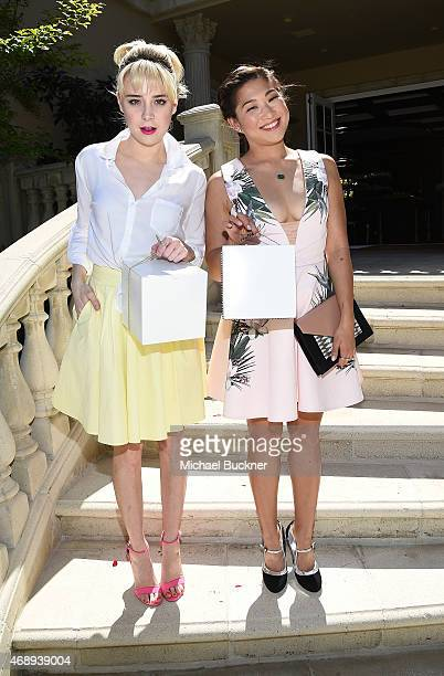 Actress Alessandra Torresani and actress Jenna Ushkowitz attend the June Moss Launch Party hosted by Becca Tobin at a private residence on April 8...