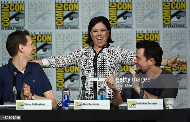 Actress Alex Borstein jokes around as she arrives at the Seth MacFarlane Animation Block panel with producer/writer Steve Callaghan and filmmaker...