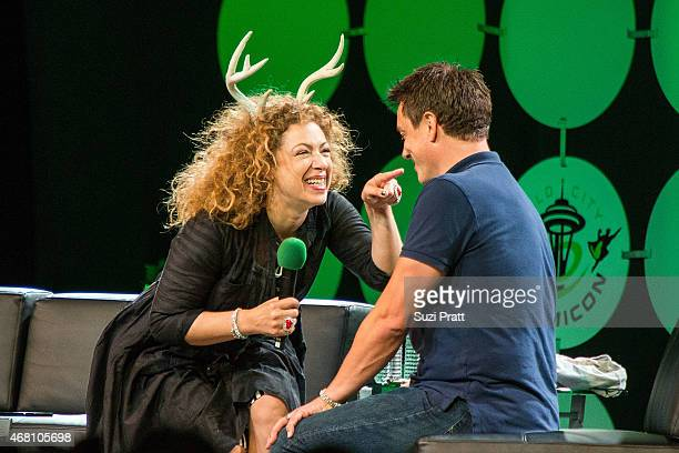 Actress Alex Kingston and actor John Barrowman appear at Emerald City Comicon on March 29 2015 in Seattle Washington