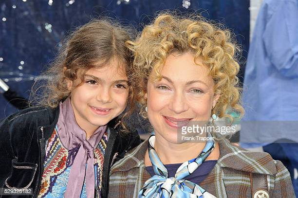 Actress Alex Kingston and her daughter actress Salome Violetta Haertel arrive at the premiere of 'Monsters vs Aliens' held at Gibson Amphitheatre in...