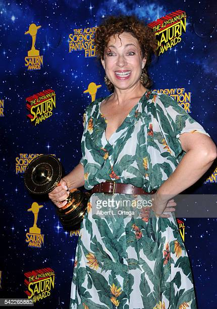 Actress Alex Kingston poses in the pressroom at the 42nd annual Saturn Awards at The Castaway on June 22 2016 in Burbank California