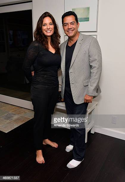 Actress Alex Meneses and actor Carlos Gomez attend the EcoBungalow celebrity open house at EcoBungalow on January 29 2014 in Los Angeles California