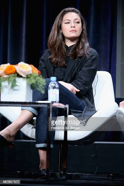 Actress Alexa Davalos speaks onstage during the 'The Man in the High Castle' panel discussion at the Amazon Studios portion of the 2015 Summer TCA...