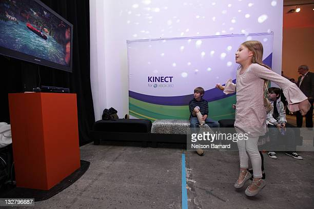 Actress Alexa Gerasimovich plays Kinect for Xbox 360 during the Elizabeth Glaser Pediatric AIDS Foundation Kids For Kids Family Carnival 2010 at...
