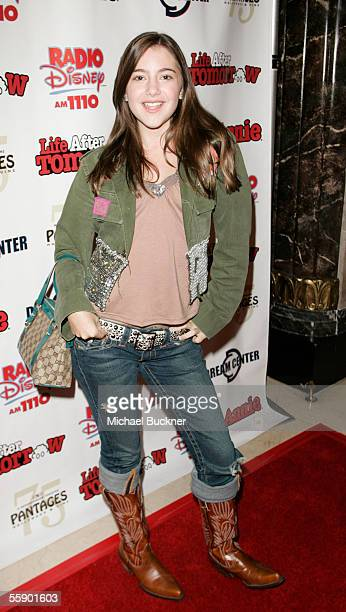 Actress Alexa Nikolas arrives at the Kids' Night production of 'Annie' at the Pantages Theatre on October 11 2005 in Los Angeles California