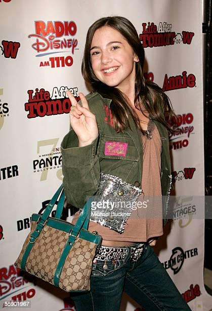 Actress Alexa Nikolas arrives for the Kids' Night production of 'Annie' at the Pantages Theatre on October 11 2005 in Los Angeles California