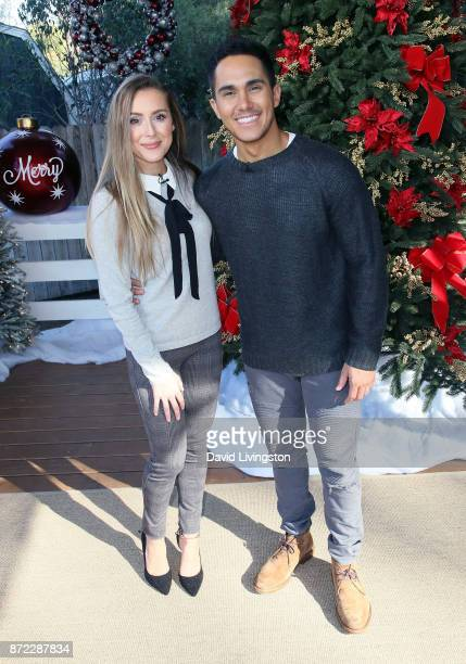 Actress Alexa PenaVega and husband actor Carlos PenaVega visit Hallmark's Home Family at Universal Studios Hollywood on November 9 2017 in Universal...