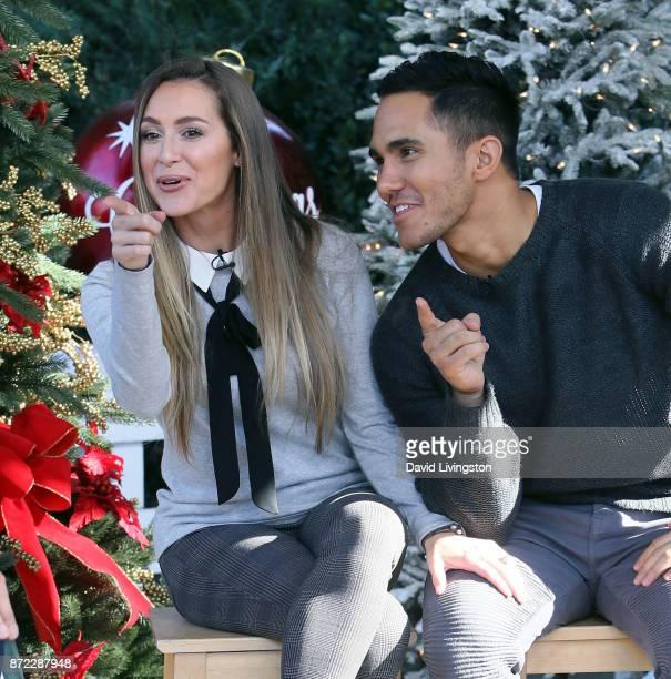 Actress Alexa PenaVega and husband actor Carlos PenaVega visit Hallmark's Home Family at Universal Studios Hollywood on November 9 2017 in Universal...