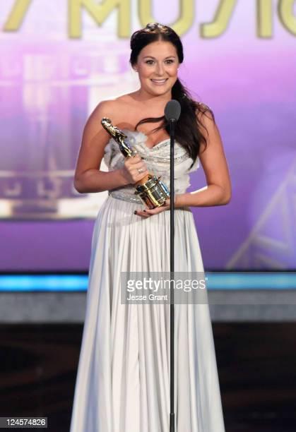 Actress Alexa Vega accepts the award for Favorite Movie Actress Comedy/Musical during the 2011 NCLR ALMA Awards preshow held at Santa Monica Civic...