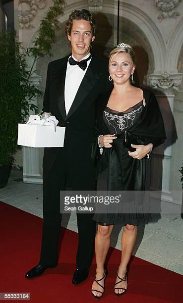 Actress Alexandra Bechtel and Alexander Lassen arrive at the evening reception at the Kursalon after the church wedding of Verona and Franjo Pooth at...