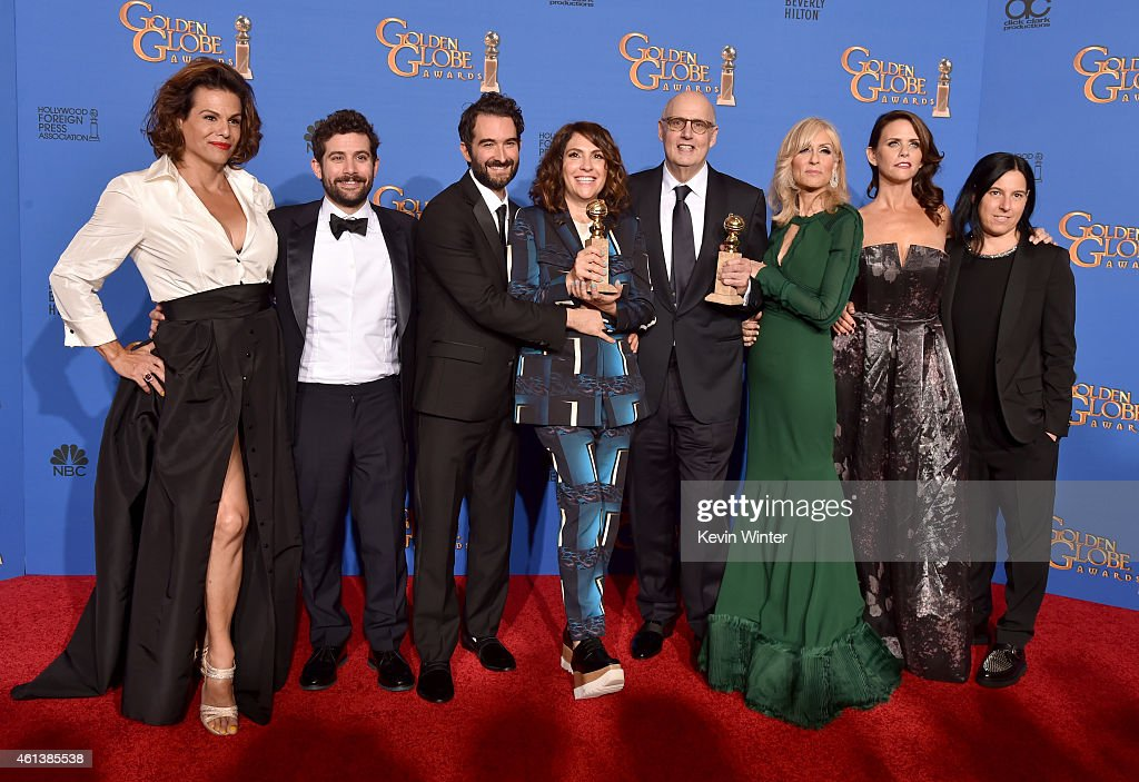 Actress Alexandra Billings, guest, writer/producer/director Jill Soloway, actors Jay Duplass, actors Jeffrey Tambor, Judith Light, Amy Landecker and co-Executive Producer Andrea Sperling, winners of Best Actor in a Television Series – Musical or Comedy for 'Transparent', pose in the press room during the 72nd Annual Golden Globe Awards at The Beverly Hilton Hotel on January 11, 2015 in Beverly Hills, California.