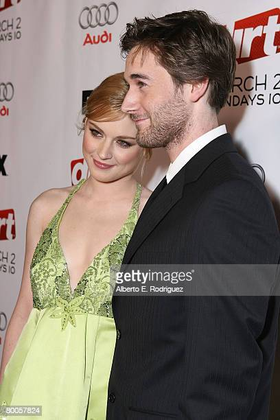 Actress Alexandra Breckenridge and actor Ryan Eggold arrive at the 2nd season premiere screening of FX Network's Dirt held at the Arclight theaters...