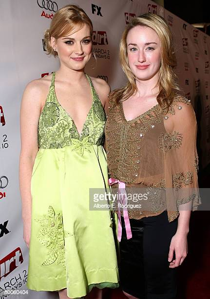 Actress Alexandra Breckenridge and actress Ashley Johnson arrive at the 2nd season premiere screening of FX Network's Dirt held at the Arclight...