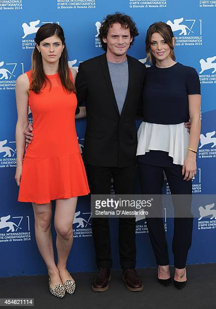 Actress Alexandra Daddario actor Anton Yelchin actress Ashley Greene attend 'Burying The Ex' Photocalll at Palazzo Del Cinema on September 4 2014 in...