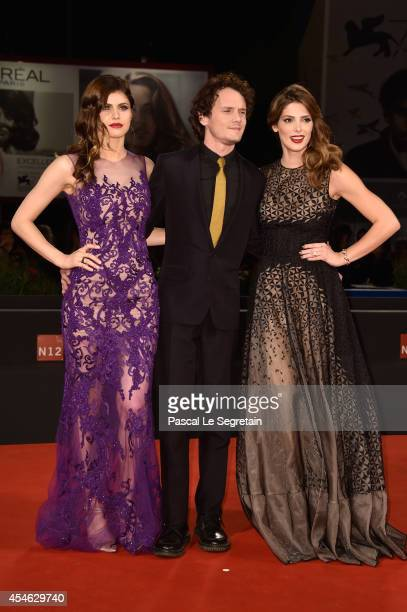 Actress Alexandra Daddario actor Anton Yelchin actress Ashley Greene attends 'Burying The Ex' Premiere during the 71st Venice Film Festival on...