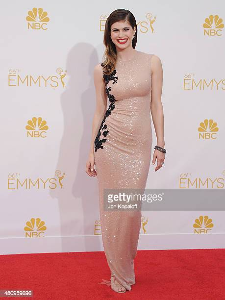 Actress Alexandra Daddario arrives at the 66th Annual Primetime Emmy Awards at Nokia Theatre LA Live on August 25 2014 in Los Angeles California