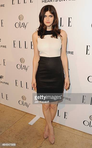 Actress Alexandra Daddario arrives at the ELLE Women In Television Celebration at Sunset Tower on January 22 2014 in West Hollywood California