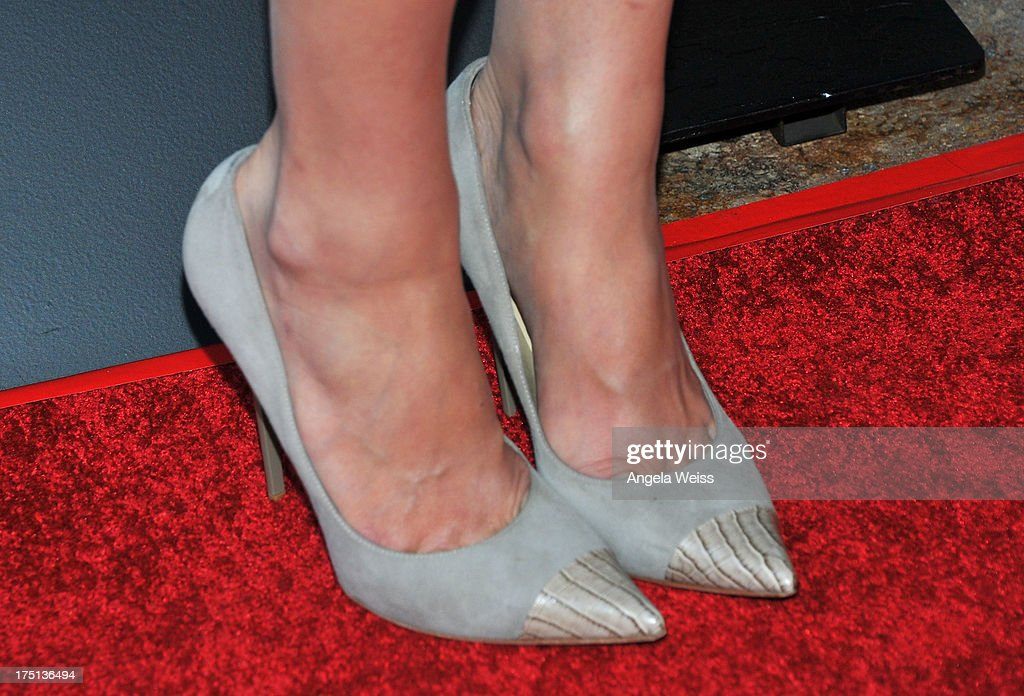 Actress Alexandra Daddario (shoe detail) arrives at the premiere of 'Percy Jackson: Sea Of Monsters' at The Americana at Brand on July 31, 2013 in Glendale, California.