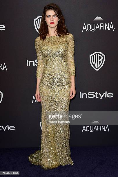 Actress Alexandra Daddario attends InStyle and Warner Bros 73rd Annual Golden Globe Awards PostParty at The Beverly Hilton Hotel on January 10 2016...