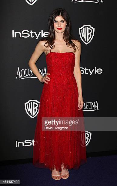 Actress Alexandra Daddario attends the 2015 InStyle and Warner Bros 72nd Annual Golden Globe Awards PostParty at The Beverly Hilton Hotel on January...