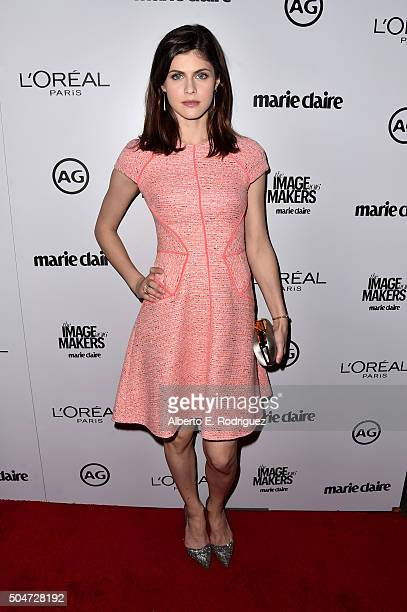 Actress Alexandra Daddario attends the inaugural Image Maker Awards hosted by Marie Claire at Chateau Marmont on January 12 2016 in Los Angeles...