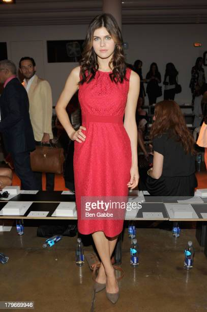 Actress Alexandra Daddario attends the Peter Som Spring 2014 fashion show during Mercedes-Benz Fashion Week at Milk Studios on September 6, 2013 in...