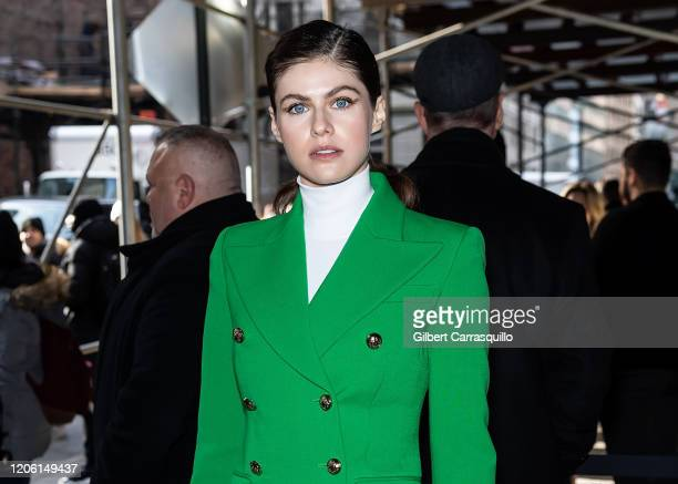 Actress Alexandra Daddario is seen arriving to the Michael Kors FW20 Runway Show on February 12 2020 in New York City