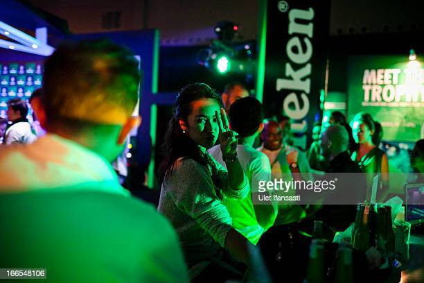 Actress Alexandra Gottardo attends during the UEFA Champions League Trophy Tour 2013 VIP party presented by Heineken at Gandaria City Shopping Mall...