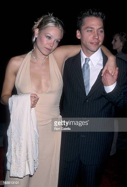 Actress Alexandra Holden and actor Michael Weston attend the 'Lucky Numbers' Hollywood Premiere on October 24 2000 at Paramount Pictures Studios in...