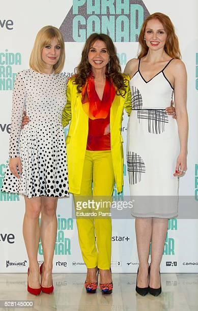Actress Alexandra Jimenez actress Victoria Abril and actress Cristina Castano attend the 'Nacida para ganar' photocall at Eurobuilding hotel on May...