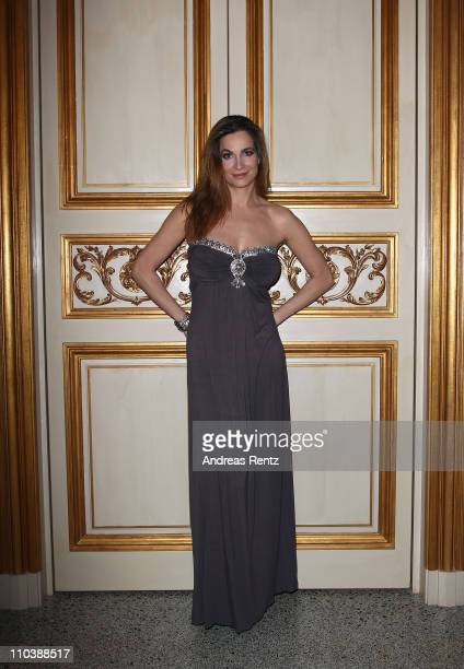 Actress Alexandra Kamp attends the reception to the 150th anniversary of Italy unification at the Italian embassy to Germany on March 17 2011 in...