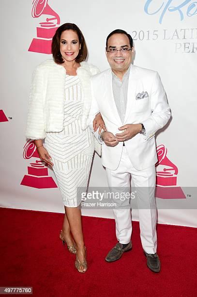 Actress Alexandra Malagon and recording artist Gilberto Santa Rosa attend the 2015 Latin GRAMMY Person of the Year honoring Roberto Carlos at the...