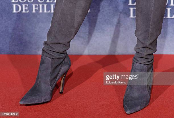 Actress Alexandra Masangkay, boots detail, attends the '1898, los ultimos de Filipinas' premiere at Kinepolis cinema on November 29, 2016 in Madrid,...