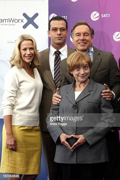 Actress Alexandra Neldel actor Kai Schumann producer Nico Hofmann and actress Katharina Thalbach attend the 'Der Minister' photocall on September 21...