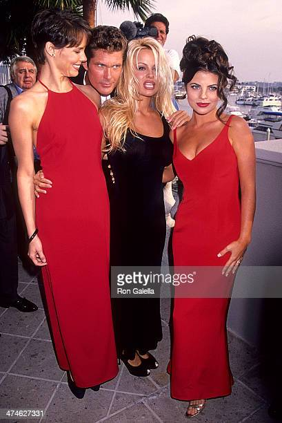 Actress Alexandra Paul actor David Hasselhoff actress Pamela Anderson and actress Yasmine Bleeth attend 'Baywatch' 100th Anniversary Celebration on...