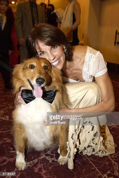 Actress Alexandra Paul and Murphy the dog attend the 18th Annual Genesis Awards presented by the Humane Society of the United States on March 20 2004...