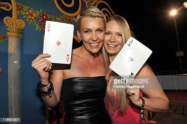 Actress Alexandra Rietz and fashion designer Eva Krsak pose during the P1 Summerparty at P1 on July 12 2011 in Munich Germany