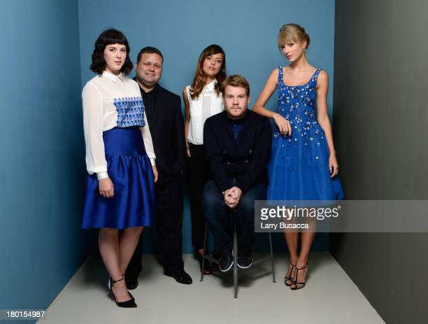 Actress Alexandra Roach singer Paul Potts actress Valeria Bilello actor James Corden and actress Taylor Swift of 'One Chance' pose at the Guess...