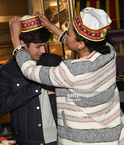Actress Alexandra Shipp and actor Nick Robinson attend Love Simon Atlanta Fan Screening and QA at the Waffle House Food Truck at Regal Atlantic...