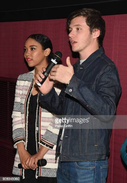 Actress Alexandra Shipp and actor Nick Robinson speak onstage at Love Simon Atlanta Fan Screening and QA at Regal Atlantic Station on March 6 2018 in...