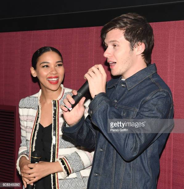 """Actress Alexandra Shipp and actor Nick Robinson speak onstage at """"Love, Simon"""" Atlanta Fan Screening and Q&A at Regal Atlantic Station on March 6,..."""