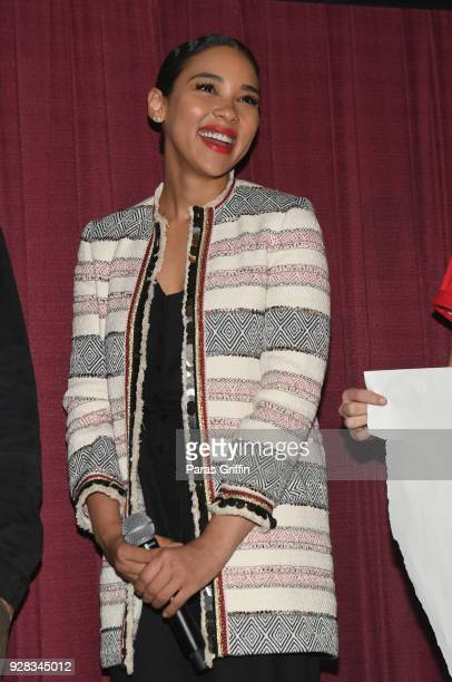 Actress Alexandra Shipp attends Love Simon Atlanta Fan Screening and QA at at Regal Atlantic Station on March 6 2018 in Atlanta Georgia