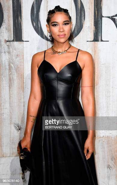 US actress Alexandra Shipp poses during the photocall before the 2019 Dior Croisiere fashion show on May 25 2018 at the Grandes écuries de Chantilly...