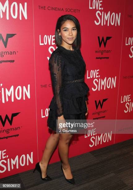 Actress Alexandra Shipp poses for a photo at the screening of Love Simon hosted by 20th Century Fox Wingman at The Landmark at 57 West on March 8...