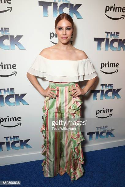 Actress Alexandra Turshen attends the blue carpet premiere of Amazon Prime Video original series The Tick at Village East Cinema on August 16 2017 in...
