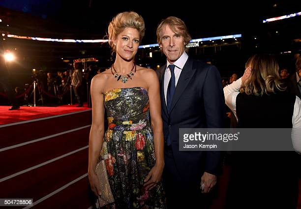 Actress Alexia Barlier and director/producer Michael Bay attend the Dallas Premiere of the Paramount Pictures film '13 Hours The Secret Soldiers of...
