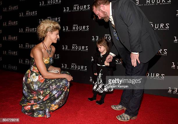 Actress Alexia Barlier and Mark 'Oz' Geist attend the Dallas Premiere of the Paramount Pictures film '13 Hours The Secret Soldiers of Benghazi' at...