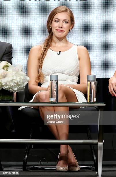 Actress Alexia Dox speaks onstage during the 'Quick Draw' panel at Hulu's TCA Presentation at The Beverly Hilton Hotel on July 12 2014 in Beverly...